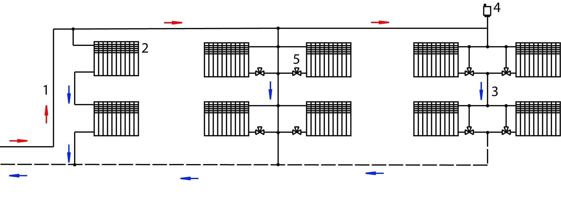 Схема верхней разводки отопления фото 192